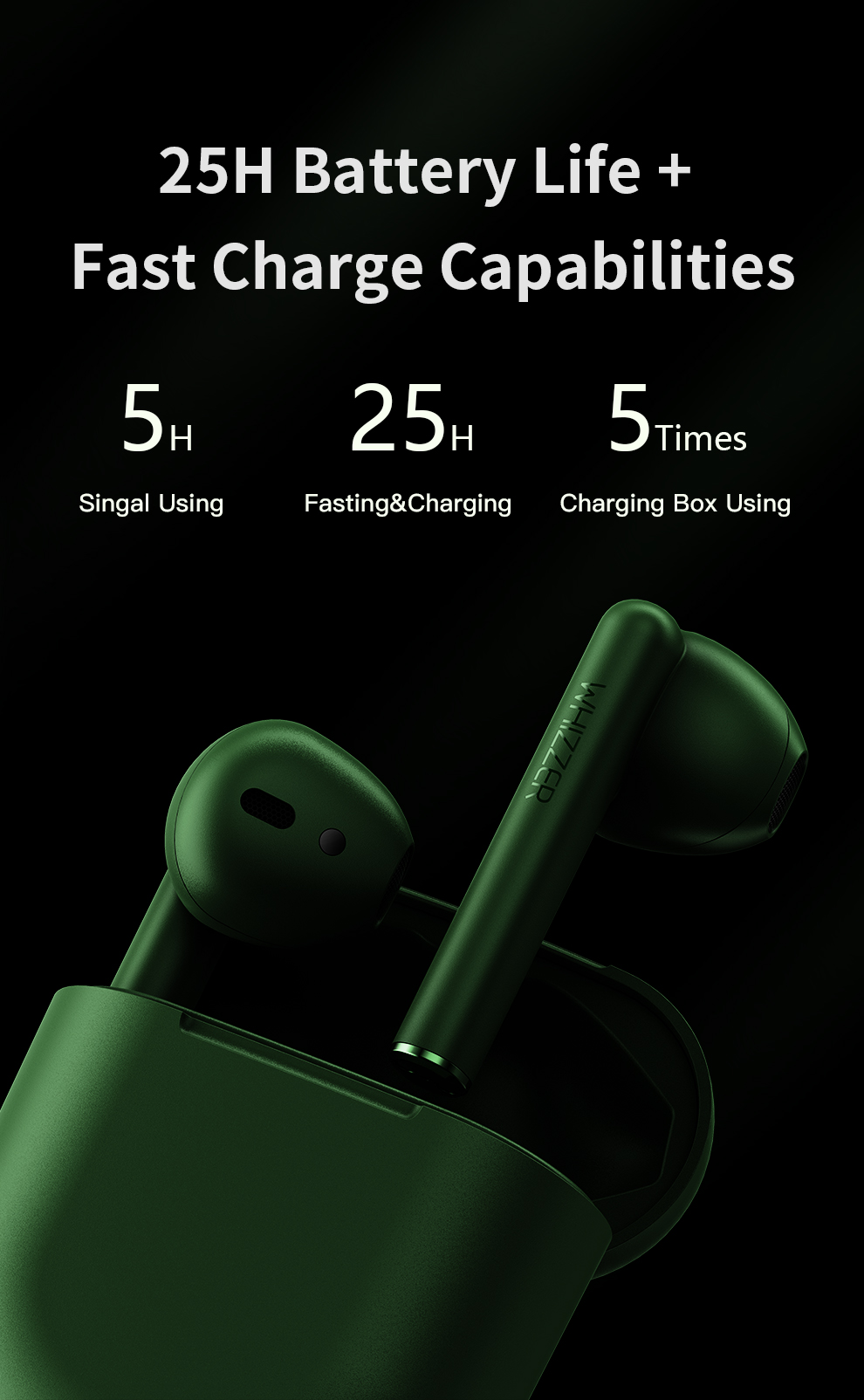 Original Whizzer B7 наушники TWS BravoPods Wireless in ear earphone Voice control Bluetooth 5.0 Noise reduction Tap Control