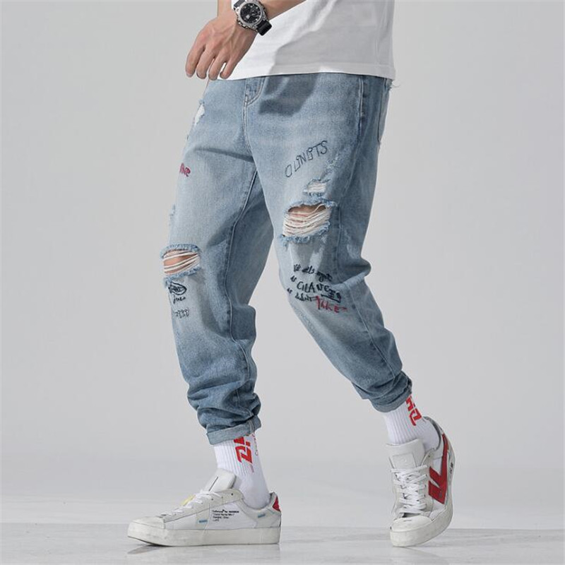 2019 New Summer Jeans Embroidery Pants Jeans Fashion Casual Washed Ripped Distressed Holes Jeans Denim Trousers Ninth Pants