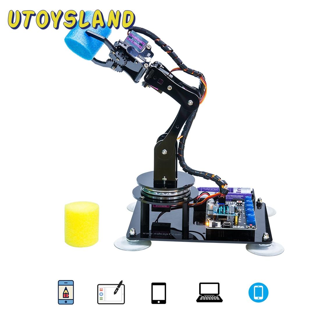 Adeept Arduino Compatible bricolage 5-DOF bras robotique Kit tige bras Robot Kit pour Arduino UNO R3 pour enfants enfant jouets éducatifs cadeau