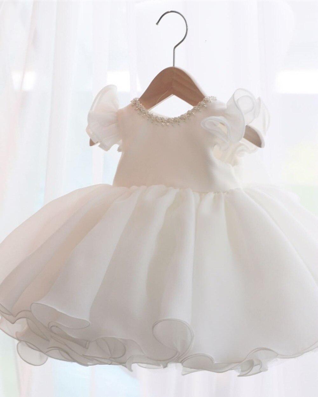 Vestido para meninas, miçangas branco renda bebê menina vestido de 1 ano de aniversário vestido sem mangas infantil vestidos de festa bebê menina vestido de batizado