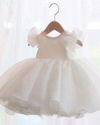 Белое кружевное платье с бисером для маленьких девочек, платье для дня рождения на 1 год, вечерние платья без рукавов для новорожденных, плат...