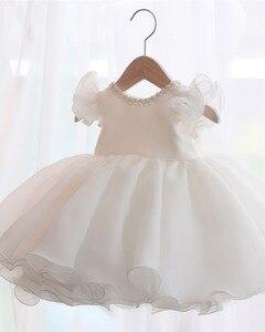 Vestido de encaje blanco con cuentas para niña bebé, vestido de 1 año de cumpleaños sin mangas, vestido de fiesta de recién nacido, vestido de bautizo para niña bebé