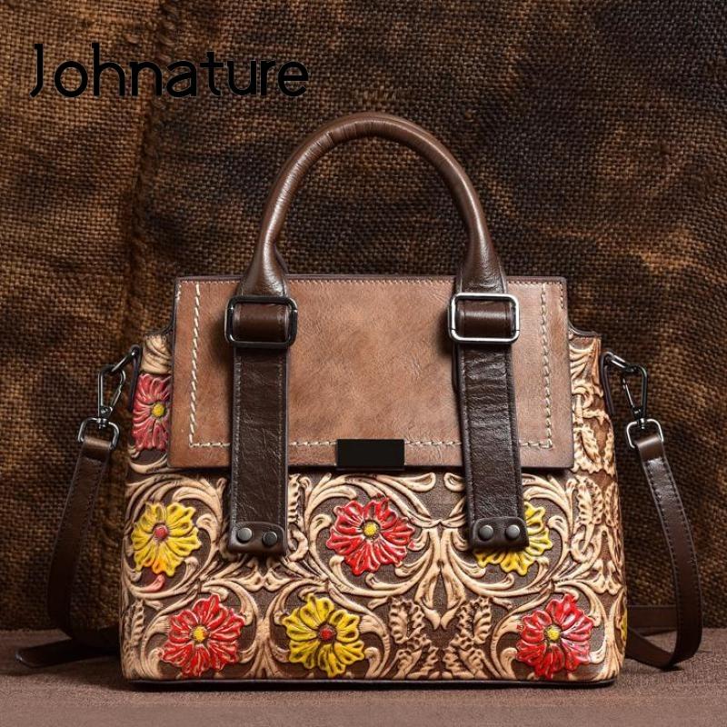 Johnature Retro Cow Leather Women Bag 2020 New Hand Painted Handbag Leisure Embossed Female Tote Shoulder Messenger Bags