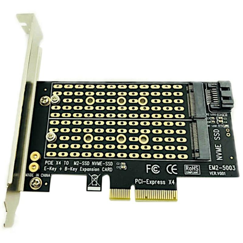 Bilgisayar ve Ofis'ten Eklenebilir Kartlar'de Pcie M2/M.2 adaptörü M.2 Ngff masaüstü Pcie X4 X8 X16 Nvme Sata çift Ssd Pci Express adaptör kartı title=