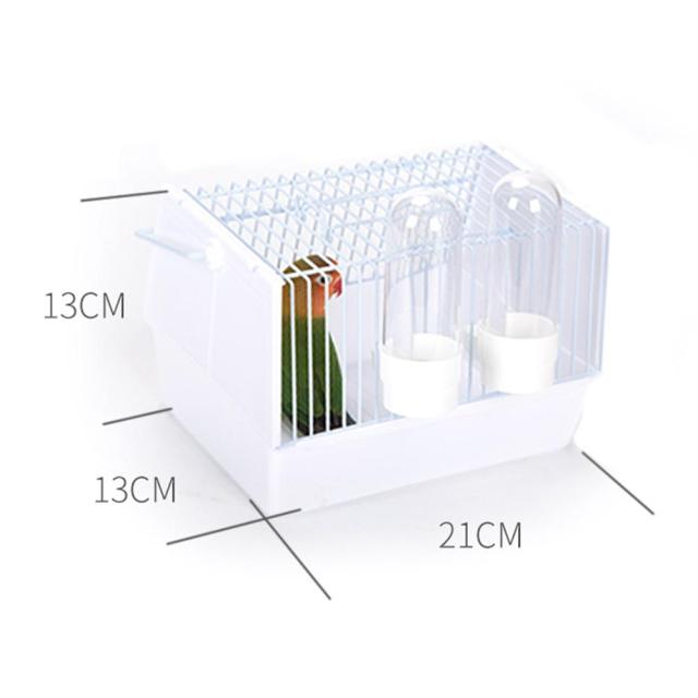 Birds Supplies Portable Bird Cage Parrot Transparent Transport Cage Plastic And Wire Bird Travel Carrier With Two Feeders 5