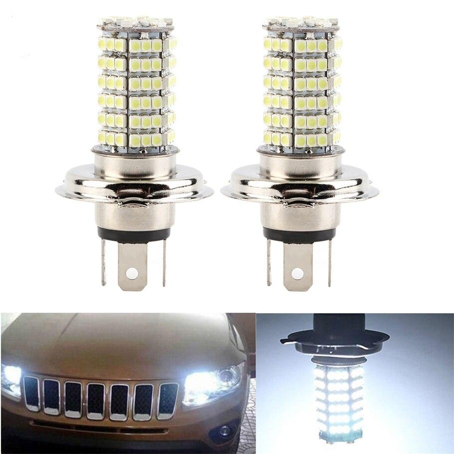 2 Pcs H4 DC12V 120LED LED Fog Light Headlight Lamp SMD High Low Beam White Car Daytime Driving Running Light Hot Selling