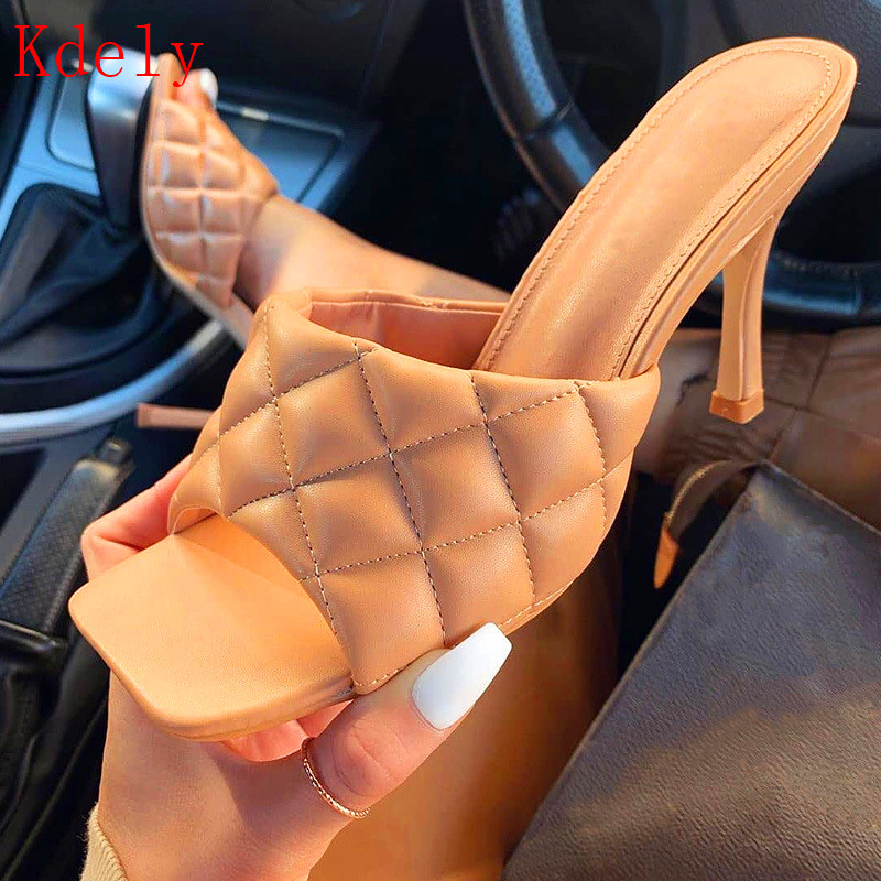 Summer Women Sandals Square Toe Ladies Heel Mules Sexy Thin High Heels Sandals Slippers Female Fashion Woman Shoes 9CM  big size