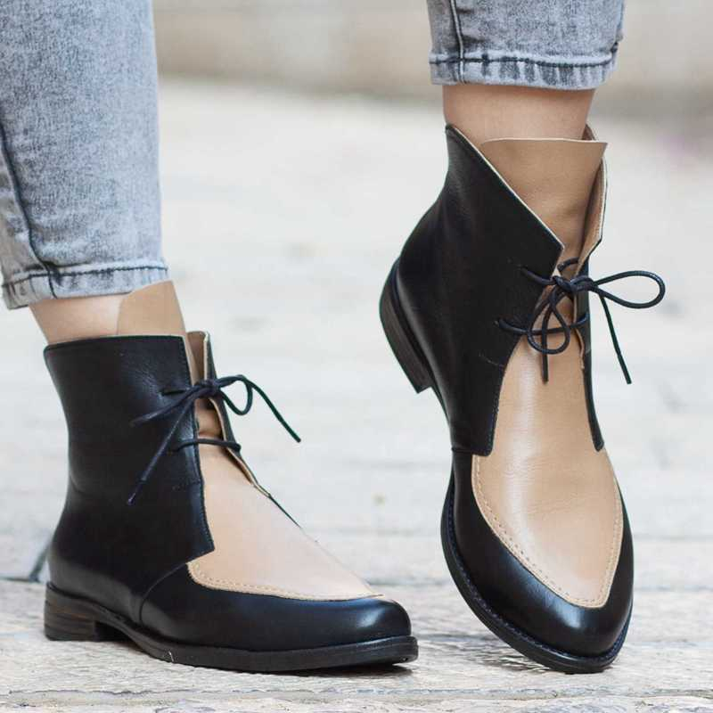 PUIMENTIUA בתוספת גודל קרסול מגפי נשים פלטפורמת תחרה עד אבזם נעלי העקב עבה קצר אתחול גבירותיי מקרית הנעלה זרוק חינם