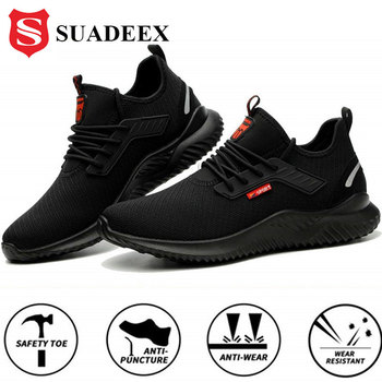 SUADEEX Steel Toe Work Shoes Puncture Proof Safety Shoes For Men Women Anti-Smashing Indestructible Security Work Sneakers 36-48 suadeex work safety shoes breathable mesh construction men steel toe sneakers anti smashing puncture proof security boots 36 48