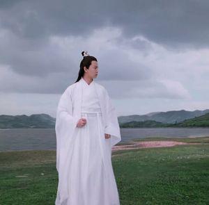 Chinese Ancient Tradition Hanfu Men Fantasia Male Cosplay Ancient Scholars&Swordsman Costume Vintage White Hanfu Sets For Men(China)