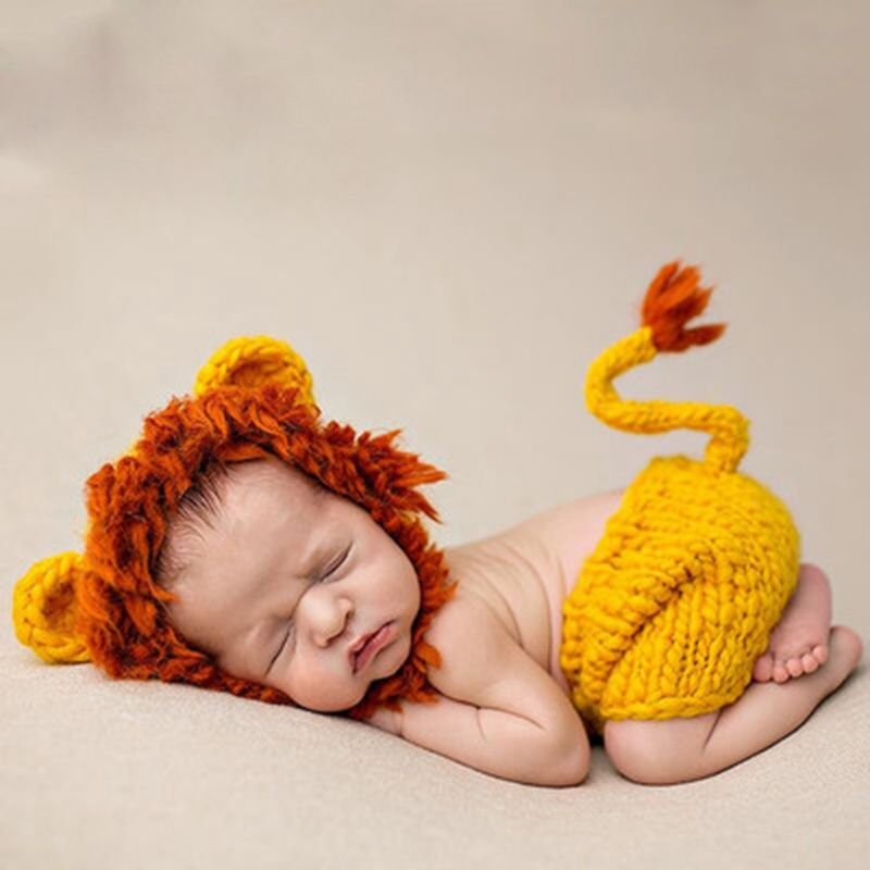 Baby Photographing Orange Lion Clothes Cotton Child Photography Knitwear  Newborn Photo Graph Props CHD10151