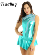 TiaoBug Shiny Metallic High Neck Sleeveless Figure Skating Dress Ballet Gymnastics Leotards for Women Performance Dance Costume