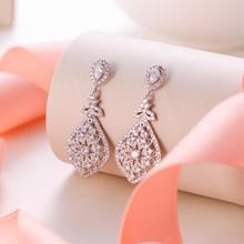 Tuliper Bridal Wedding Earrings For Women Femme свадебные серьги kolczyki Slubne Zircon Party Jewelry 귀걸이 Prom
