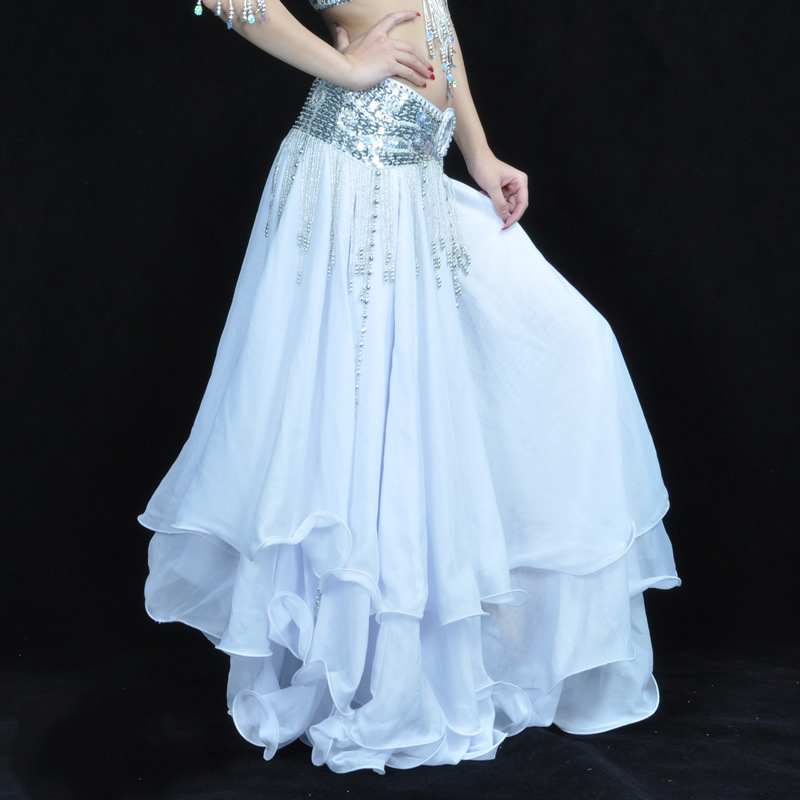 3 Layer Chiffon White Dance Skirt For Adult Flamenco/Gypsy Maxi Long Skirt For Women (Without Belt)