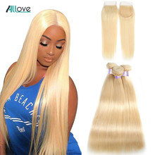 Allove Brazilian Straight Hair Bundles With Closure Remy Hair 613 Bundles With Closure Blonde Human Hair Bundles With Closure(China)
