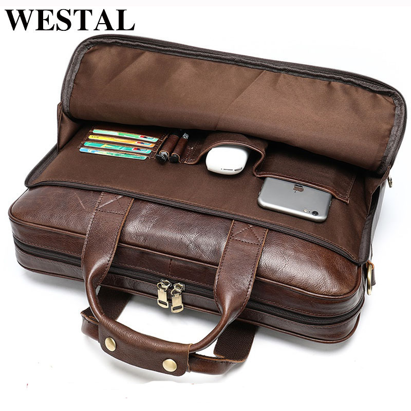 WESTAL Bag Handbag Briefcase Laptop-Bags Tote Man's Male Men for Genuine-Leather