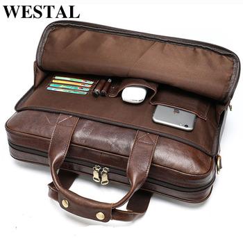WESTAL skórzana torba męska teczka męska torebki biurowe dla torba męska człowieka prawdziwy skórzane torby na laptop mężczyzna dużego ciężaru podręczna torebka tanie i dobre opinie Genuine Leather CN (pochodzenie) Single Biznes Otwór na wyjście Kieszonka na telefo Wewnętrzna kieszeń na zamek błyskawiczny