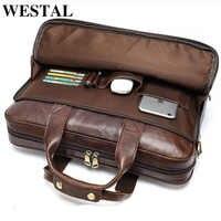 WESTAL skórzana torba męska teczka męska torebki biurowe dla torba męska człowieka prawdziwy skórzane torby na laptop mężczyzna dużego ciężaru podręczna torebka