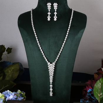 Janekelly 2pcs Bridal Zirconia Full Jewelry Sets For Women Party, Luxury Dubai Nigeria CZ Crystal Wedding Jewelry Sets
