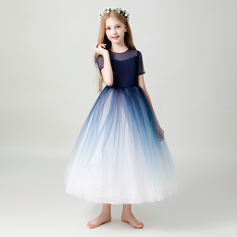 Kid's Dress 2020 New Girl's Formal Dress Ponchos Piano Show Host Summer Princess Dress Birthday Ceremony Wedding Dress