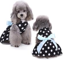 Cute Polka Dot Ribbon Bow Tutu Dress Clothes Cozy Sleeveless Dog Shirt Pet Sundress Princess Party Small Skirt D40