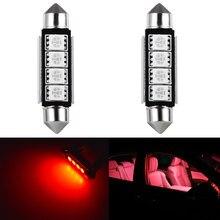 2 pces c5w c10w lâmpadas led canbus livre de erros 41mm 42mm led carro festão dome luz de leitura interior lâmpadas vermelho branco 6000k 12v