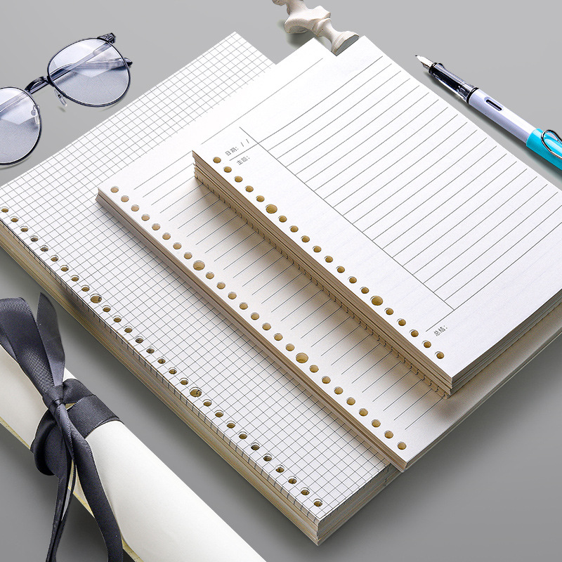 60 Sheets Loose Leaf Notebook Refill Spiral Binder 26 Holes Diary Planner A4 A5 B5 Grid Cornell Line Inner Core Paper Stationery