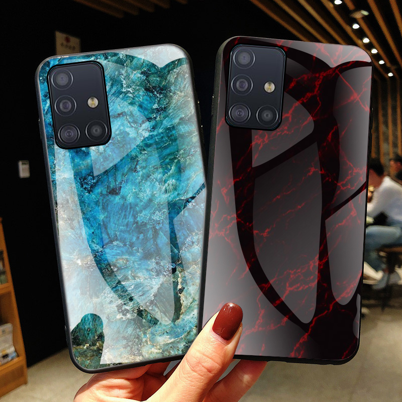 Marble <font><b>Glass</b></font> <font><b>Case</b></font> For <font><b>Samsung</b></font> Galaxy S10 Note 10 Lite a51 a71 a81 a91 m60s m80s <font><b>a50</b></font> a20 a30 a70 a10s S8 S9 S20 Plus Ultra Cover image