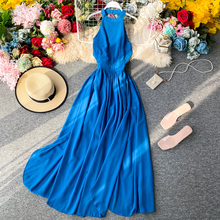 Sexy Halter Dress Women High Waist Club Evening Party Dresses New 2020 Elegant Summer Hollowing Out