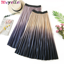High Waist Pleated Skirts Women 2019 Autumn Winter Gradient Velvet Elegant Long Skirt Korean Chic Office Lady Midi