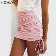 Nuove gonne stringate solide minigonna a pieghe elasticizzata da donna minigonna laterale con coulisse gonna Hip Sexy Harajuku per donna Plus Size XL