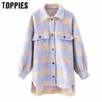 Toppies خمر شعرية طويلة jacekt معطف المرأة 2020 الربيع قميص سترة المتضخم حجم كبير سترة النساء