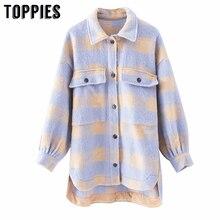 Toppies vintage lattice long jacekt coat mujeres 2020 primavera camisa chaqueta de gran tamaño de talla grande chaqueta de mujer