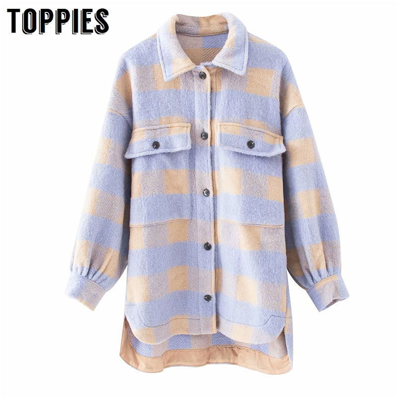 Vintage Lattice Long Jacekt Coat Women 2020 Spring Shirt Jacket Oversized Plus Size Women Jacket