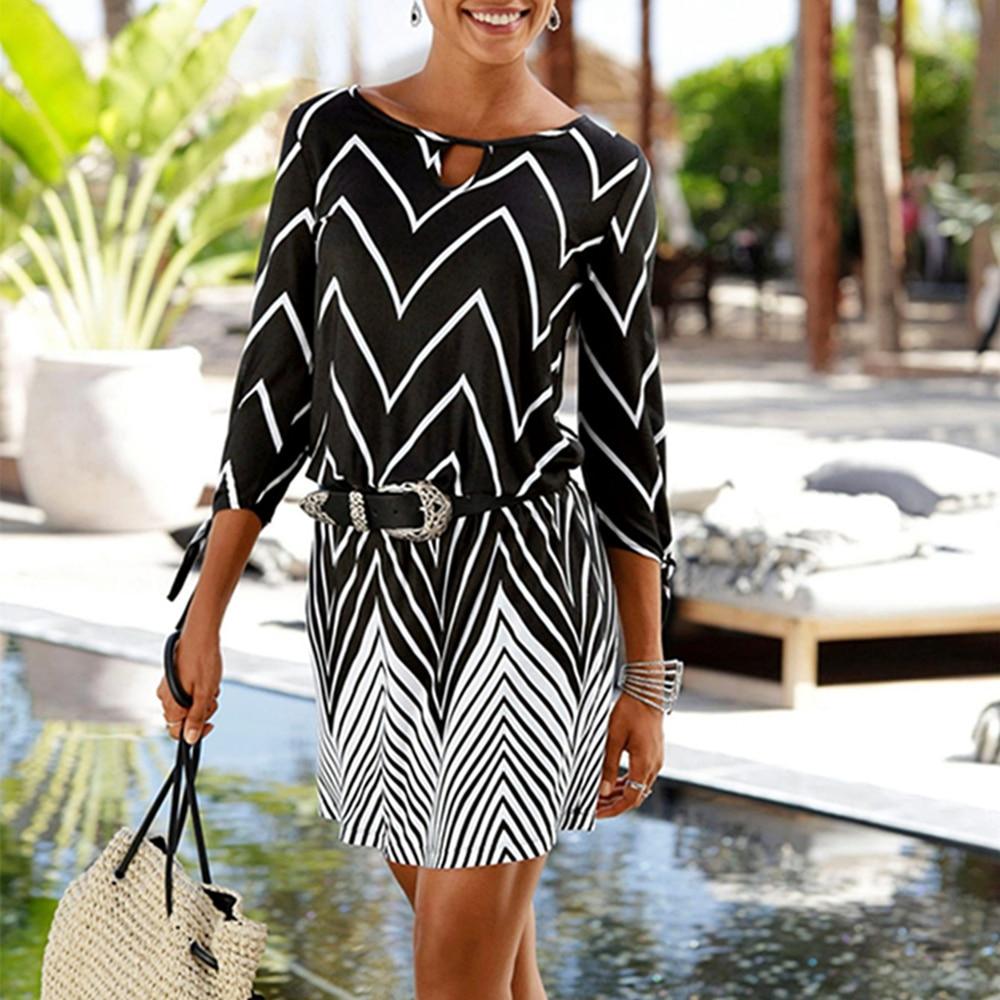 2020 New Black White Print Tie Sleeve Beach Style Dresses Women Summer Hollow Out O-Neck Three Quarter Sleeve A-Line Mini Dress 1