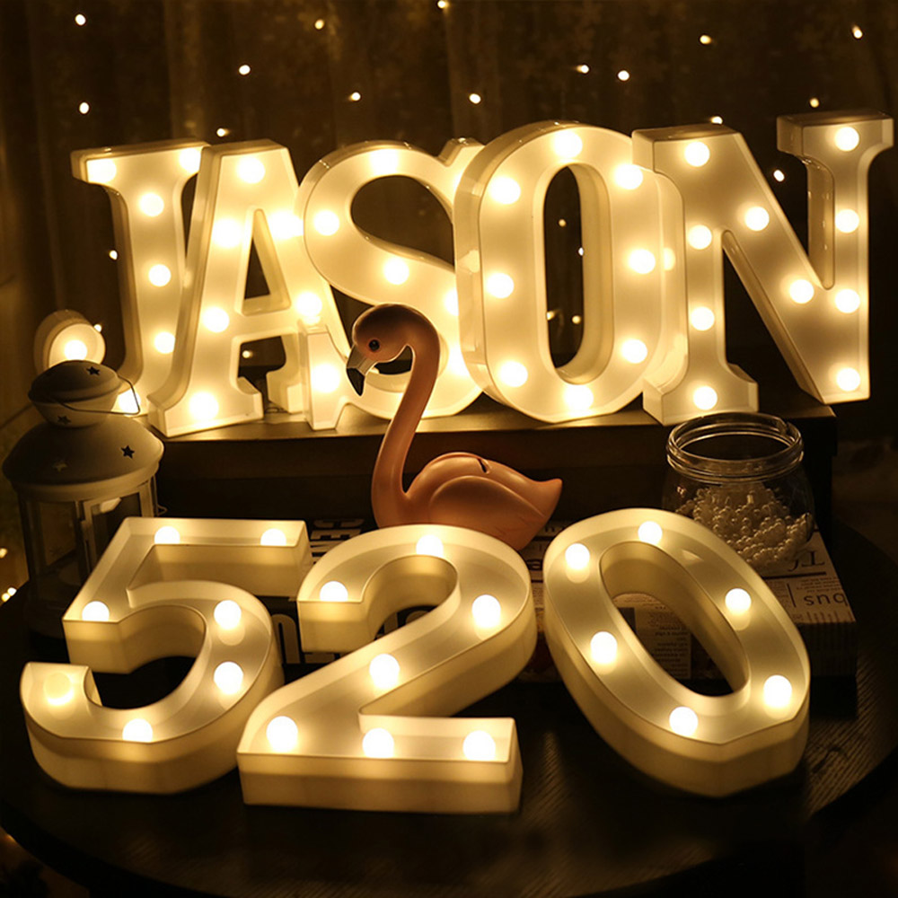 1PC Luminous Letter & Numbers Night LED Light Home Decor Creative 26 English Letter Number Led Lamp For Romantic Wedding Party