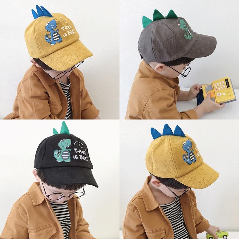 2-8 Years Old Spring Children Baseball Cap Boys Girls Dinosaur Style Snapback Adjustable Kids Hip Hop Hat Sun Cap