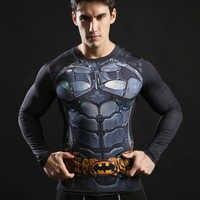 Neue Casual Batman Gedruckt 3D Compression T-Shirt Mens Superheld Design Engen T Shirt Mann Langarm Bodybuilding Tops Homme