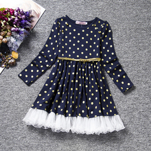 Dot Long Sleeve Dress for Girls Clothing Baby Girl Clothing Teenager School Daily Wear Kids Casual O-neck Children Clothes new baby girl dress cotton children kids baby girls dresses baby summer short sleeve clothing school casual wear clothes girl