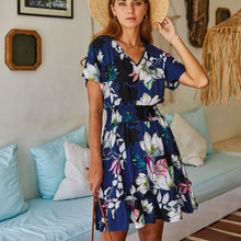 цены KNOYEER summer BOHO beach dress short sleeve V-neck dresses 2020 summer Rayon floral printing dress beam waist vestido de festa