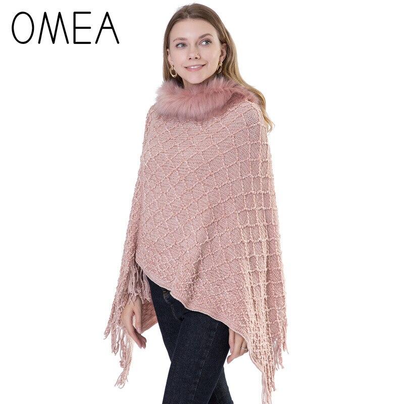 OMEA Plaid Cashmere Poncho Women Winter Fuax Fur Collar V-neck Pullover Chenille Ponchos And Capes Female Poncho With Tassel
