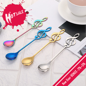 1pc Stainless Steel Musical Notes Spoon Coffee Tea Spoon for children Tableware Colors Creative Ice Cream Tools Kitchen Gadgets