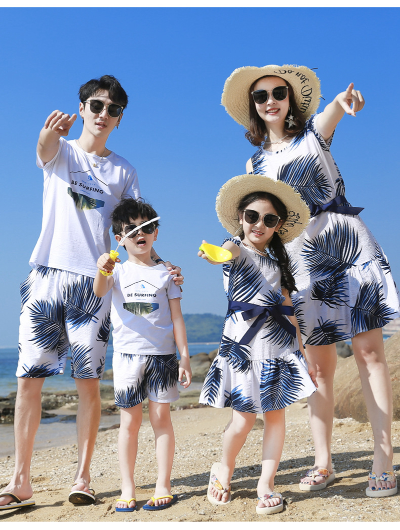 H92c78f8377244692a9ac06decb8fb8e5p - Summer Family Matching Outfits Mother Daughter Beach Vocation Dresses Summer Dad Son T-shirt+Shorts Couples Matching Clothing