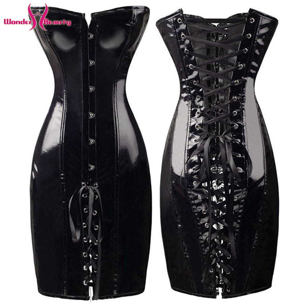 Lace Up Faux Leather Corset Dress Wetlook PVC Steampunk Gothic Strapless Bustier Dress Vintage Club Halloween Party Corselet (11)