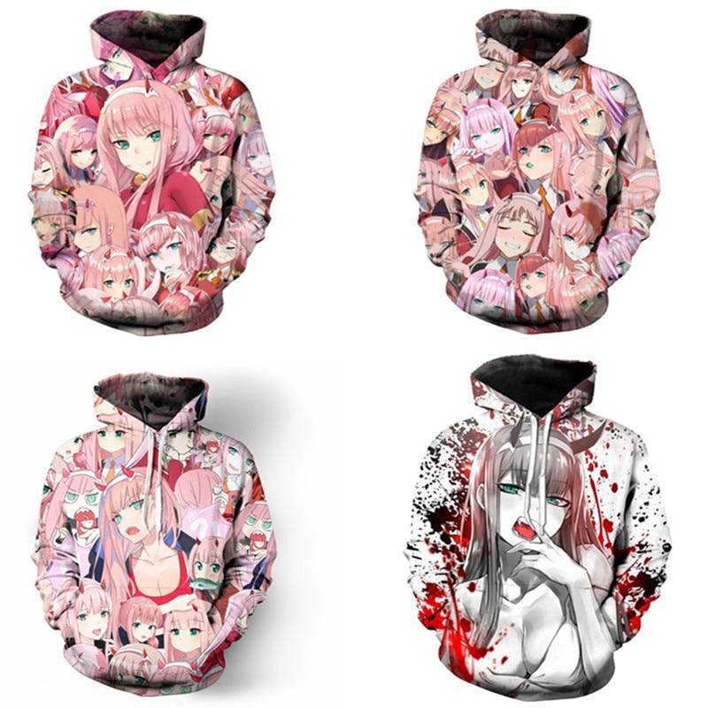 2019 Anime DARLING In The FRANXX Hoodies Jacket Cosplay Costume ZERO TWO Hoodies Cosplay 3D Printing Zipper Hoodies Sweatshirts