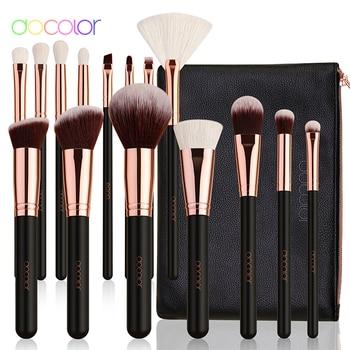 Docolor Rose Gold Makeup brushes set Professional Natural goat hair brushes Foundation Powder Contour Eyeshadow make up brushes 1