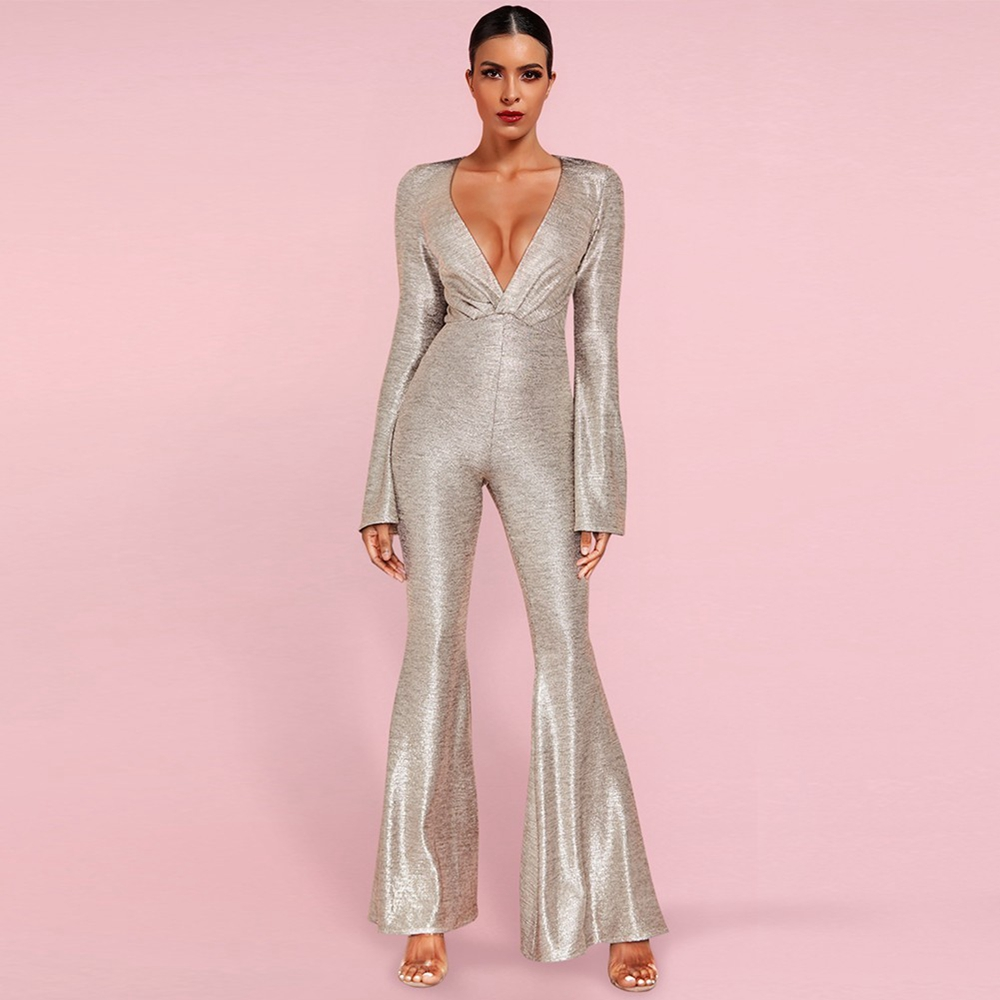 Ocstrade Silver V Neck Long Sleeve Maxi Bell-Bottoms Bodycon Jumpsuits HI1117-Silver