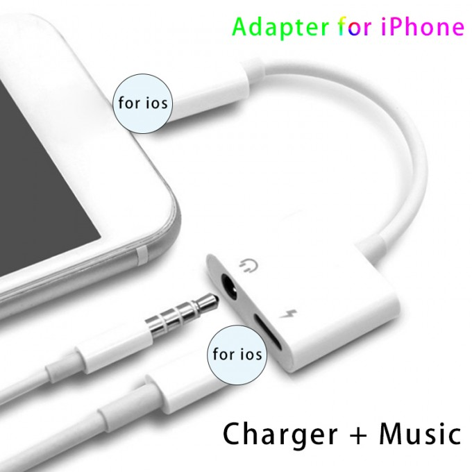 Phone-Adapter Splitter Earphone Double-Ios-Connector Apple 8-Plus 2-In-1 for XS MAX Xr-X-7 title=