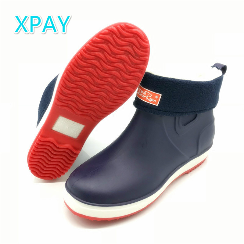 Rain Boots Men Winter Galoshes With Cotton Liner Gumboots Waterproof Shoes Kitchen Skid-proof Shoes Fishing Boots Car Wash