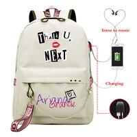 Ariana Grande Thank U Next Shoulder Backpack for Girls Usb Cable Women School Bag Travel Teenager Backpack Daily Baypack Mochila